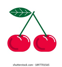 Vector Ripe red cherry berries with green leaf isolated on white background.