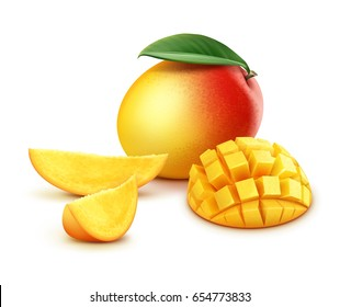Vector ripe yellow, orange, red whole and sliced mango cubes with leaf isolated on white background