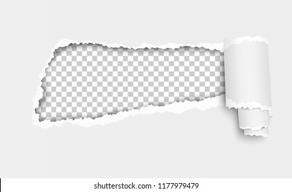 Vector ripped hole in white sheet of paper with paper curl and transparent background in the resulting window