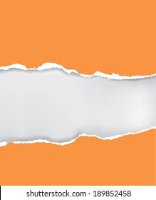 Vector ripped paper Vector illustration of orange ripped paper with place for your image or text