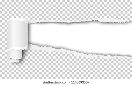 Vector ripped transparent checkered sheet of paper with soft shadow and white background in resulting window