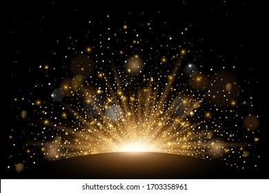 Vector rising sun light effect with rays, stars and sparkles with bokeh. Realistic design element soft half fireworks with glitter splatter elements. Vector isolated on plaid vector background