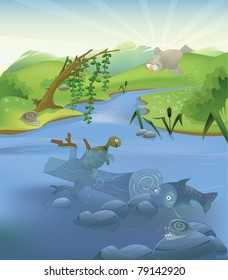 Vector river illustration with set of animals: two snails, turtle, catfish and bird.