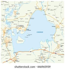 vector road map of the Bavarian lake Chiemsee, Germany