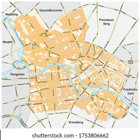 vector road map of Berlin Mitte district, Germany