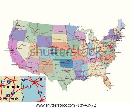 Vector Road Map Conterminous USA Separable Stock Vector (Royalty ...