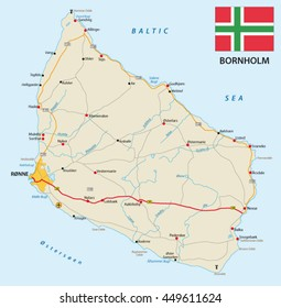 vector road map of the Danish island bornholm in the Baltic sea with flag