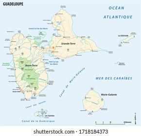 image vectorielle carte routière du territoire français d'outre-mer de Guadeloupe