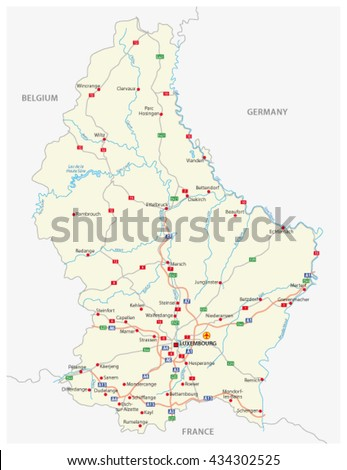 Vector Road Map Grand Duchy Luxembourg Stock Vector Royalty Free