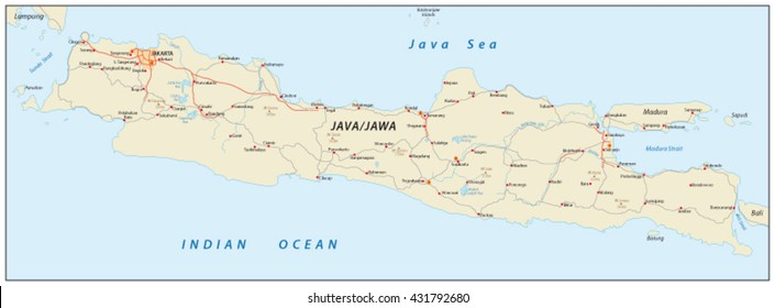 vector road map of the indonesian island java