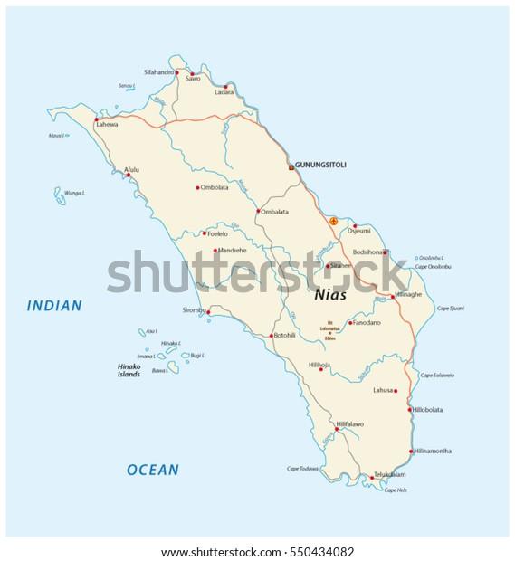 Vector Road Map Indonesian Island Nias Stock Vector (Royalty ...