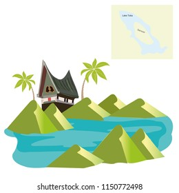 vector road map of Indonesian volcano lake toba on Sumatra. Houses on lake Toba, Sumatra, Indonesia, Asia. Unique traditional Batak tribal architecture.,Hand-drawn vintage book illustrat