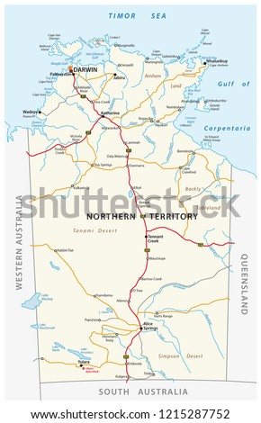 Map Of South Australia And Northern Territory.Vector Road Map Northern Territory Australia Stock Vector Royalty