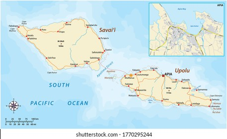 vector road map of Samoa with city map Apia