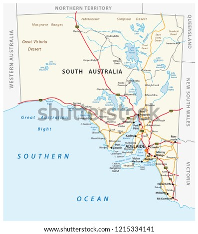 Road Map Australia.Vector Road Map State South Australia Stock Vector Royalty Free