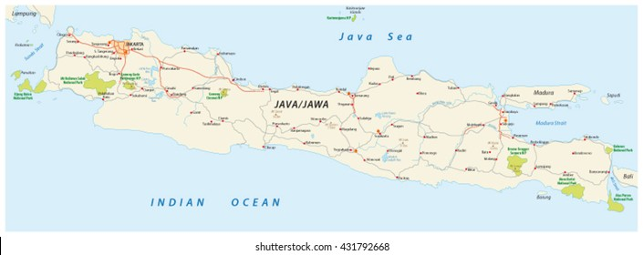 vector road and national park map of the Indonesian island java
