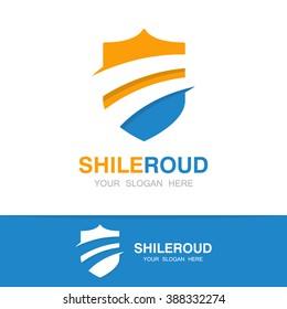 Vector road and shield logo concept