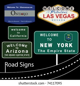 """VECTOR Road Signs """"Welcome To..."""""""