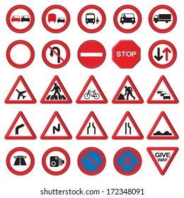 Vector road & traffic signs. 3D signs with a beveled edge.