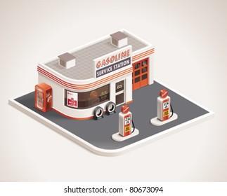 Vector roadside art deco gas filling station XXL icon