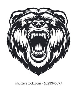 Vector Roaring Bear isolated on white background. Furious bear head. Bear silhouette. Tattoo art style.