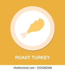 vector roast chicken illustration, roast turkey -  cooked food symbol