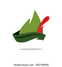 Vector Robin Hood Hat Cartoon Illustration. Austrian green hat with a red feather sticking out. Branding Identity Corporate unusual Logo isolated on a white background
