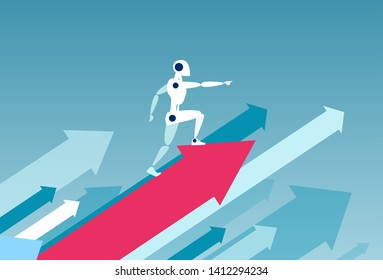 Vector of a robot standing on a growing up red arrow as a symbol of successful technology implementation in business