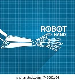 vector robotic arm symbol on blueprint paper background. robot hand. technology background design template.