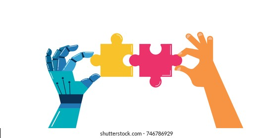 Vector robotic and human hands with puzzle, background and banner