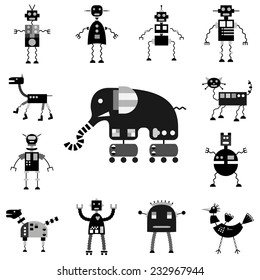 Vector robots set, monochrome cartoon collection, isolated on white background