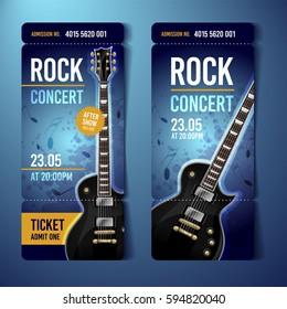 vector rock festival ticket design template with guitar