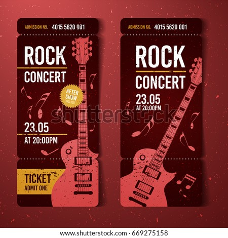 Vector Rock Festival Ticket Design Template Stock Vector Royalty