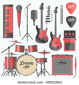 Vector rock music instruments. Stylized geometric flat illustration musical kit for icon, banner, poster, flyer design. Drums, electric guitar, bass, microphone, keyboard illustration set.