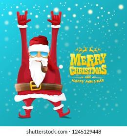 vector rock n roll santa claus with smoking pipe, santa beard and funky santa hat. Christmas hipster poster for party or greeting card. vector bad santa xmas poster background