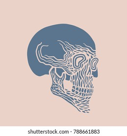 Vector rock skull for rock tattoo. Horror silhouette of face of skull in abstract painting. Print for sticker or tshirt