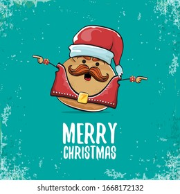 vector rock star santa potato funny cartoon cute character with with red santa hat and calligraphic christmas text isolated on isolated on turquoise background. rock n roll christmas party poster