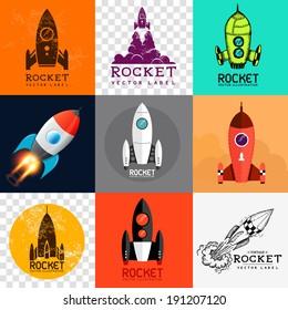 Vector Rocket Collection. Set of various rocket symbols, vector illustration.
