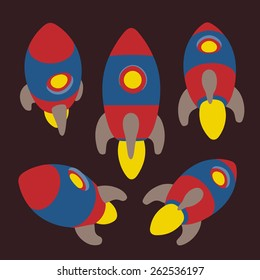 Vector rocket icon set. Different angles. Flat style.