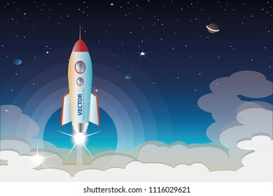 vector the rocket launch from the earth on space background