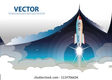 vector the rocket launch from the earth on space background.paper scaper