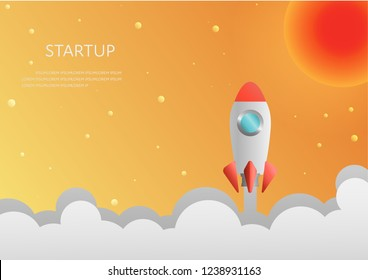 Vector rocket on the clouds.business startup concept poster design.
