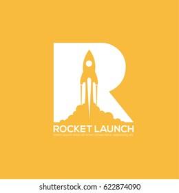 Vector Rocket ship design logo.