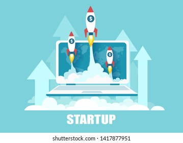 Vector of rockets flying up out of laptop screen as a symbol of successful launch of online startup