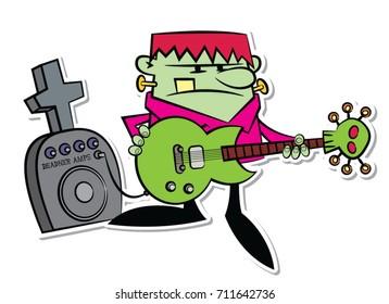 Vector rocking halloween Frankenstein monster in strong colors