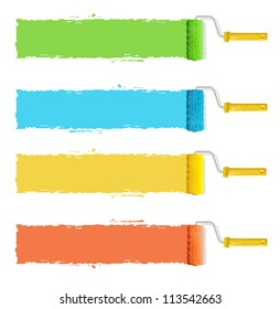Vector roller brushes with colors paint for text