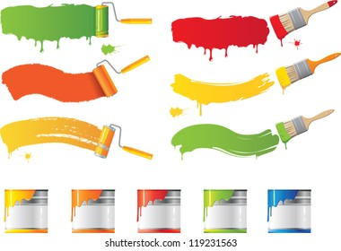 Vector roller and paint brushes with colors