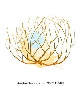 Vector rolling desert plant Tumbleweed in brown and beige isolated on white background. Dry weed round bush Tumbleweed in contour style for desert landscape design.