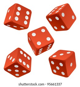 Vector rolling red dice set isolated on white background