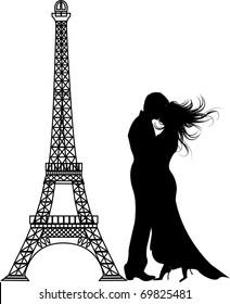 the vector romance paris Silhouette